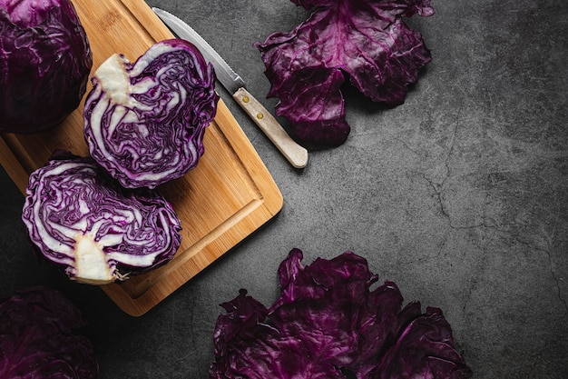 Top view red cabbage on cutting board