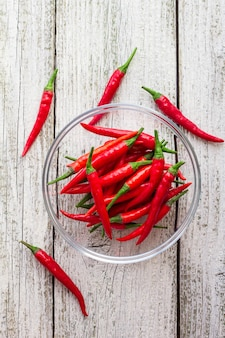 Top view red chilli peppers in transparent bowl on white wooden