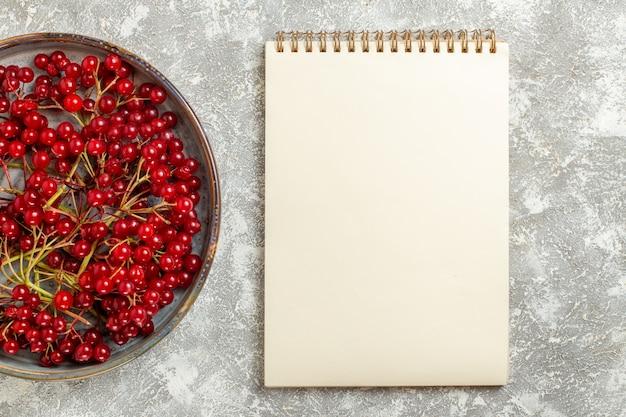 Вид сверху красная клюква спелые фрукты на белом фоне
