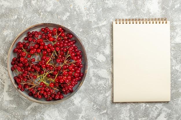 Vista dall'alto mirtilli rossi frutti mellow su sfondo bianco