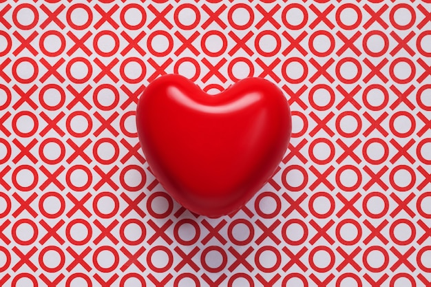 Top view of red heart on background with noughts and crosses. valentine's day background with heart and inscriptions xo.