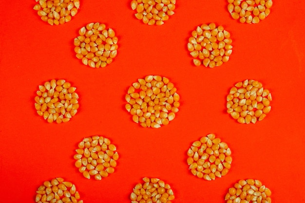 Vista dall'alto di lenticchie rosse crude a forma di cirle su rosso