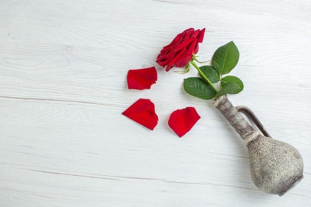 Вид сверху красная роза на светлом фоне брак чувство страсть пара любовь любовник сердце цвет нота