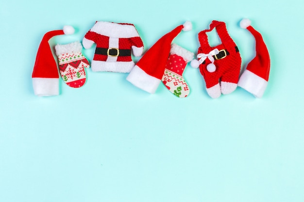 Top view red santa hats. time for holiday concept with empty space for your design