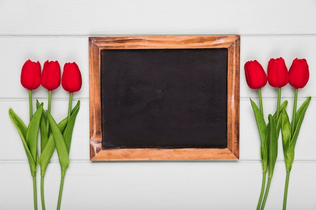 Top view red tulips beside frame