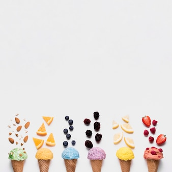 Top view refreshing ice creams with copy space