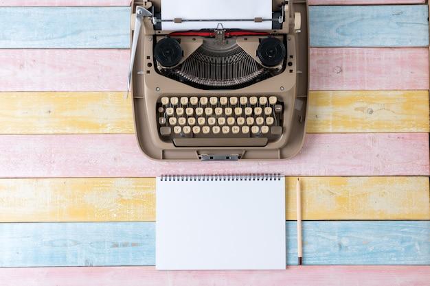 Top view of retro style typewriter in studio