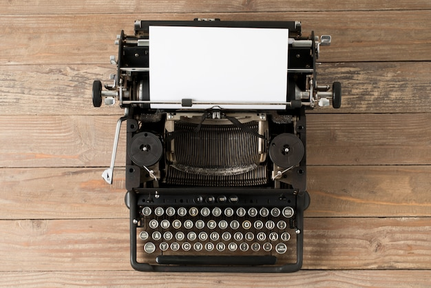 Top view of retro style typewriter in studio