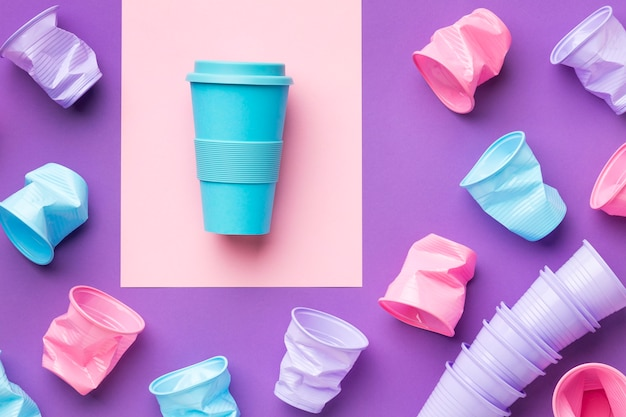 Top view reusable cup on the table