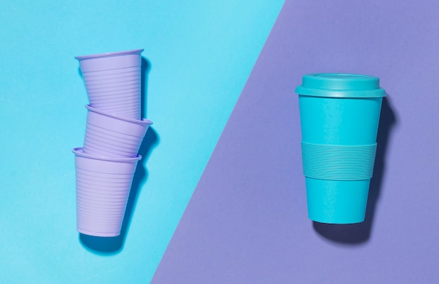 Top view reusable cup with plastic cups