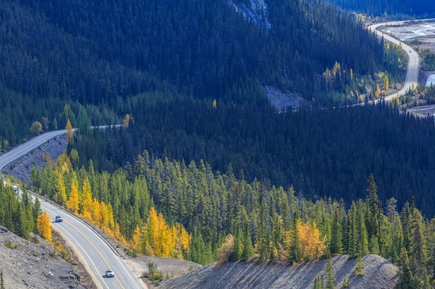 Top view of the road passing through icefields parkway in autumn alberta rocky mountains