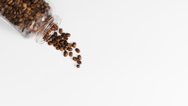 Top view roasted beans in a jar