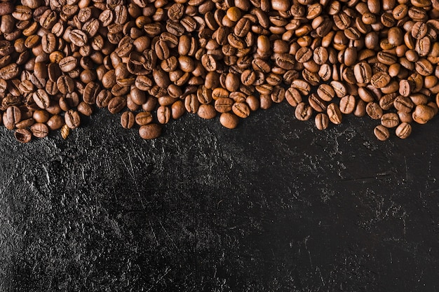 Top view roasted beans with copy space