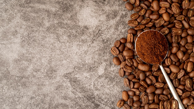 Top view roasted coffee beans with copy space