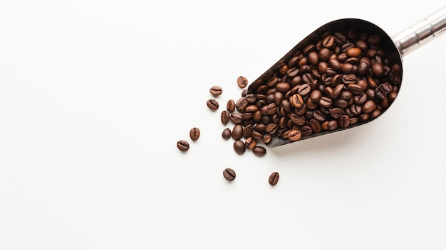 Top view roasted coffee beans