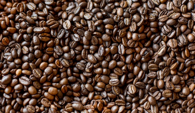 Top view of roasted coffee beans