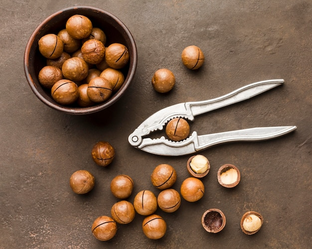 Top view roasted hazelnuts