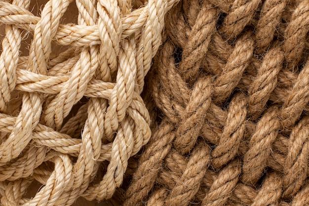 Primo piano della composizione della trama della corda vista dall'alto