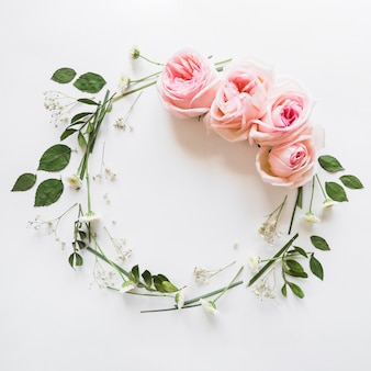 Top view of rose wreath