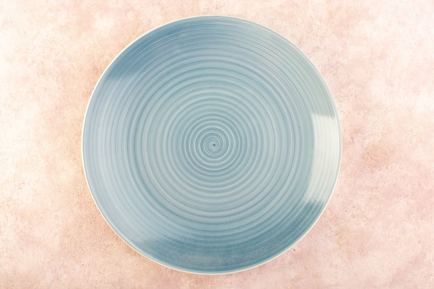 A top view round blue plate glass made isolated