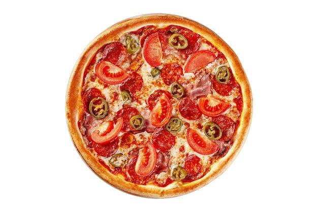 윗면 둥근 얇은 피자