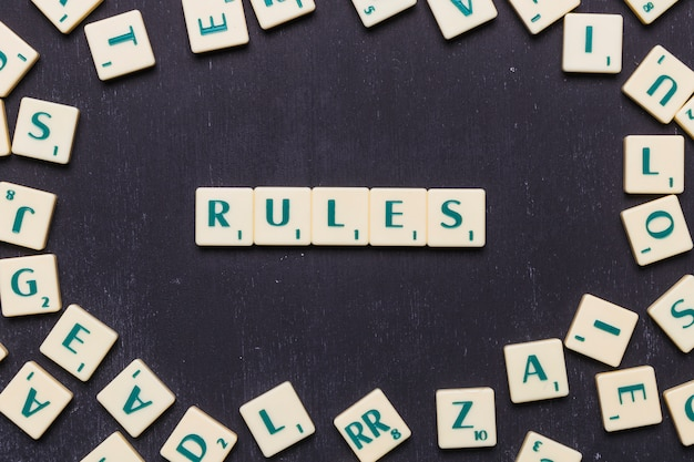 Top view of rules text made from scrabble game letters
