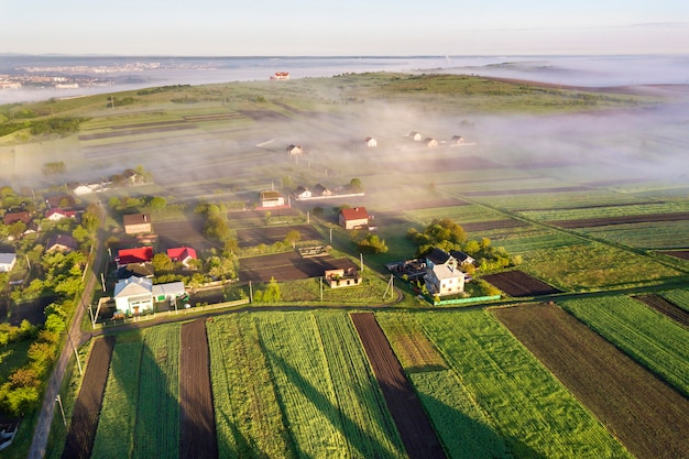 Top view of rural landscape on sunny spring day. farm cottage, houses and barns on green and black fields.