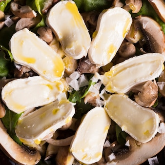 Top view salad with mushrooms