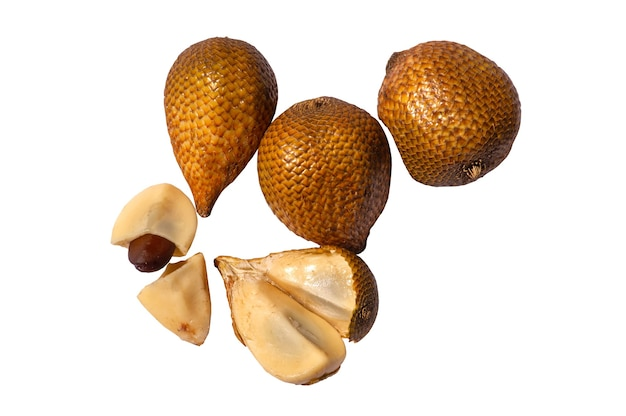 Top view of salak gading salacca edulis or salacca zalacca known as snake fruit or snake skin fruit a species of palm tree native to java island in indonesia isolated on white background