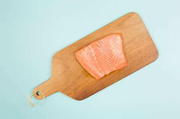 Top view of salmon fillet