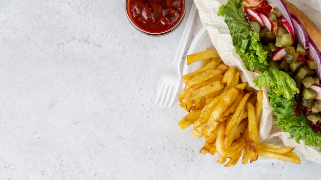 Top view sandwich with french fries