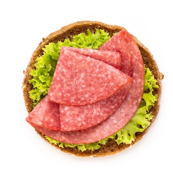 Top view sandwich with salami and salad