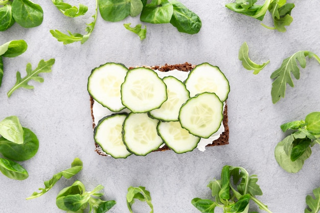 Top view sandwiches with cucumbers and salad