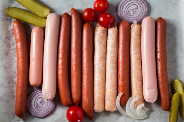 Top view sausage assortment with onion