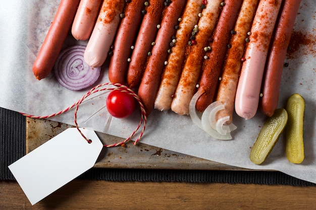 Top view sausage assortment with pickles