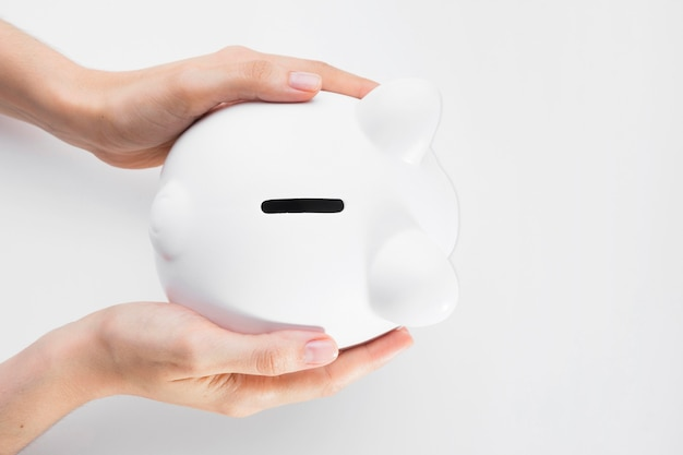 Top view savings in piggy bank
