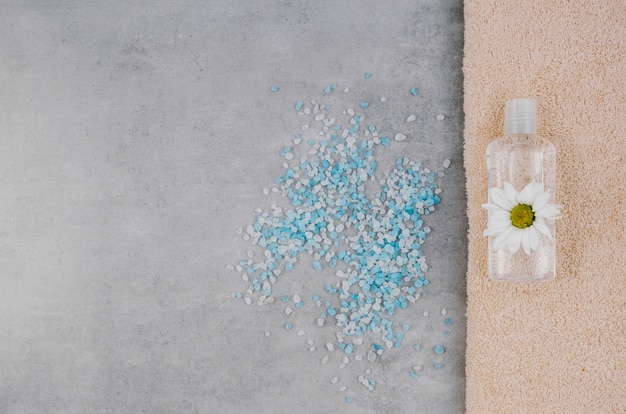 Top view scattered bath salt