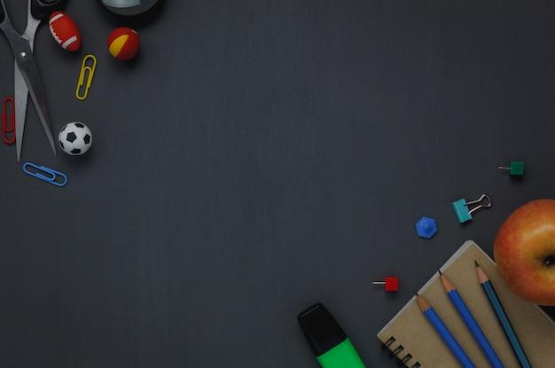 Top view school elements on chalk board