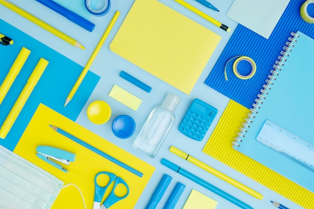 Top view school supplies arrangement