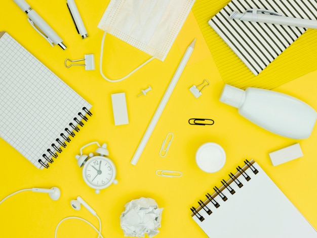 Top view school supplies composition