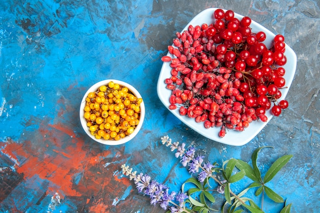 Top view of sea buckthorn in bowl barberry and currants in bowls on blue surface