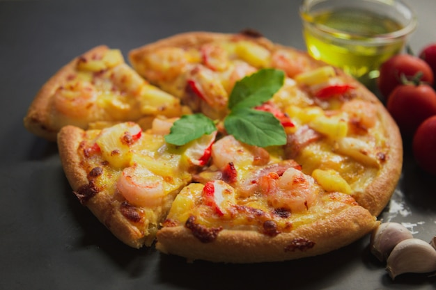 Top view of seafood pizza