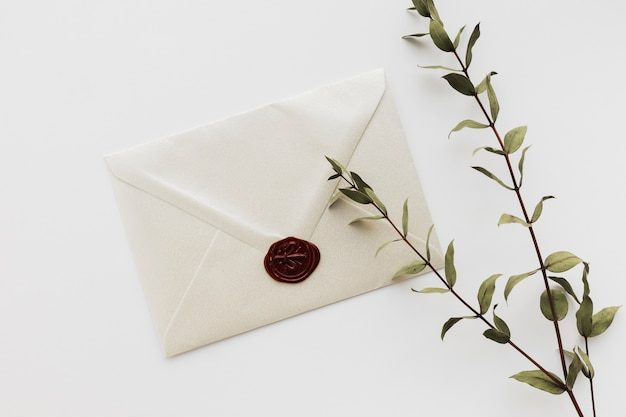 Top view sealed wedding invitation