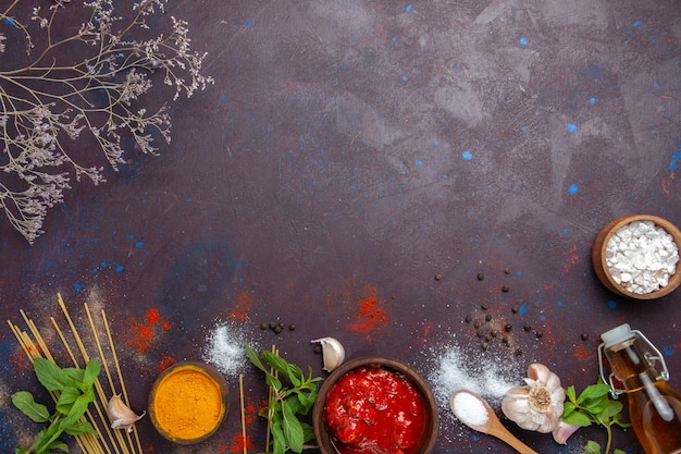 Top view seasonings and sauce on dark background meal spicy hot food color