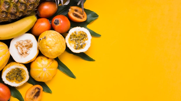 Top view selection of exotic fruits on the table