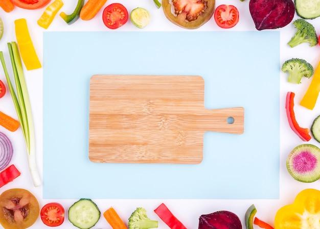 Вид сверху выбор свежих овощей с копией пространства