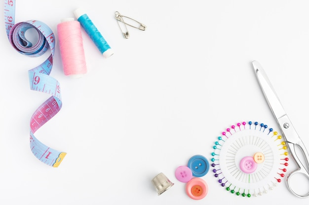 Top view sewing accesories with copy space