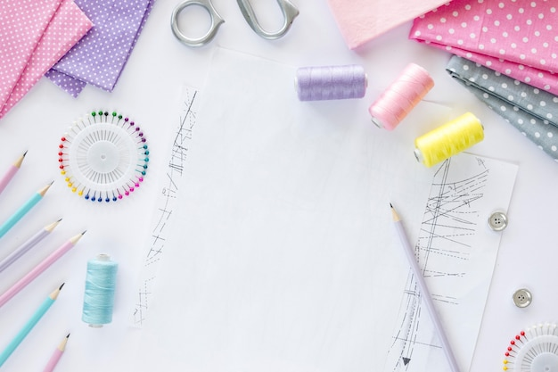 Top view of sewing essentials with textiles