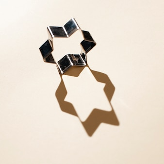 Top view shape of star with shadow