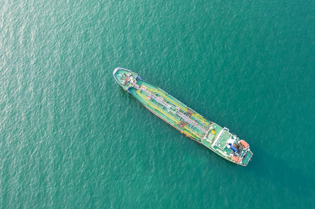 Top view of the ship carrying the lpg and oil tanker in the sea